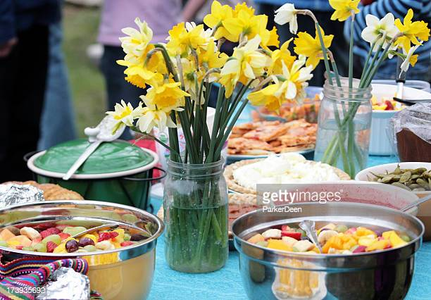 potluck or picnic in spring - daffodils stock photos and pictures