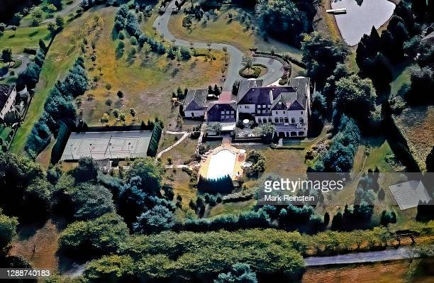 """Potomac Maryland, USA, 1991""""nAerial views of the estate home of Robert Altman and Lynda Carter with swimming pool, hot tub, and tennis court..."""