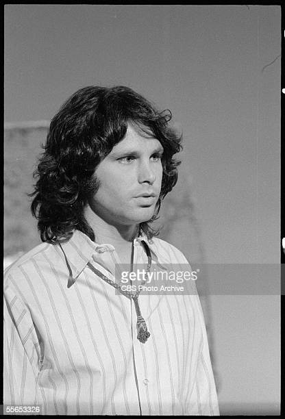 Potrait of American singer Jim Morrison leader of the rock band The Doors on 'The Smothers Brothers Comedy Hour' California January 6 1969