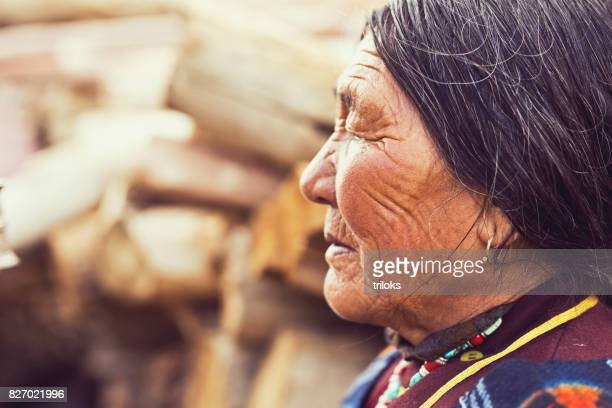 Potrait of old indian woman