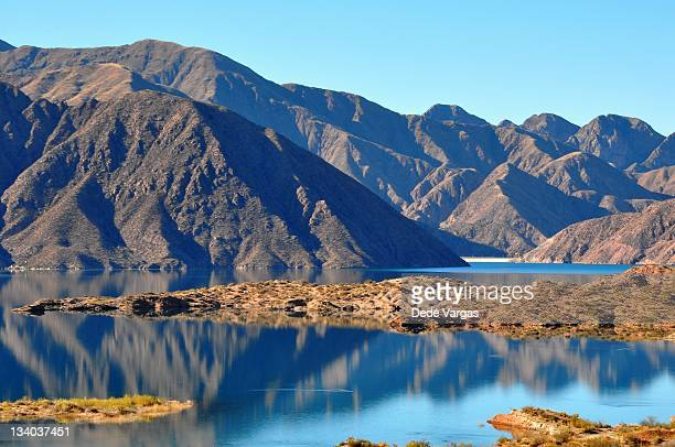 Potrerillos Lake and dam in Mendoza Argentina