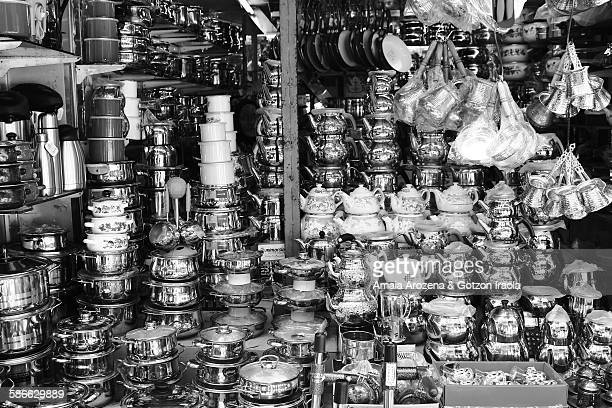 pots and pans shop - black and white instant print stock pictures, royalty-free photos & images