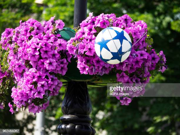Pots with petunias decorated with a soccer ball On Saturday May 26 Kiev will host the finals of the largest and most prestigious European tournament...