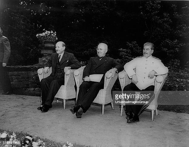 Potsdam Conference July 1945: The Allied leaders, left to right, Clement Atlee , Harry Truman and Joseph Stalin