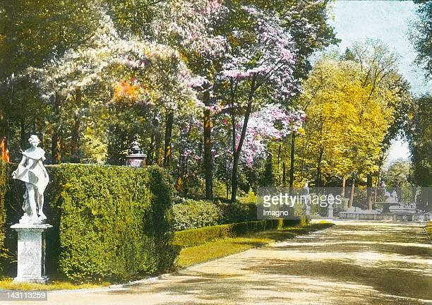 Potsdam Main alley in the park of Castle Sanssouci Germany Handcolored lantern slide around 1905