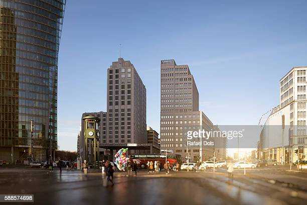 potsdam square in winter, berlin, germany - potsdamer platz stock pictures, royalty-free photos & images