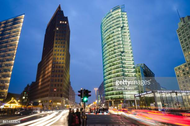 Potsdamer platz at night with traffic
