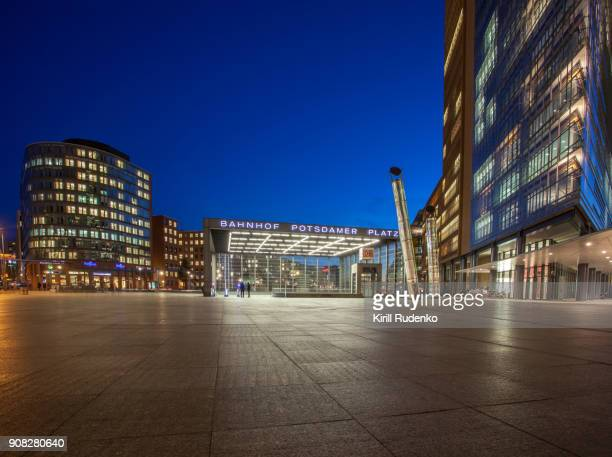 potsdamer platz at sunset in winter - sony center berlin stock pictures, royalty-free photos & images