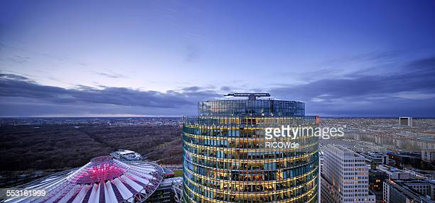 potsdamer platz at sunset - sony center berlin stock pictures, royalty-free photos & images