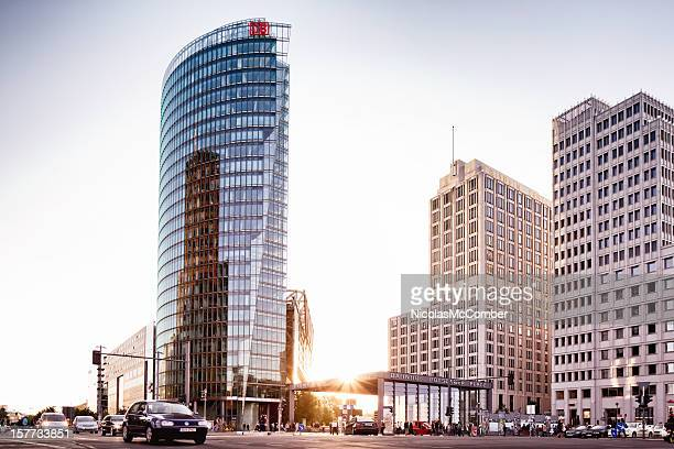potsdamer platz, berlin, at sunset - sony center berlin stock pictures, royalty-free photos & images