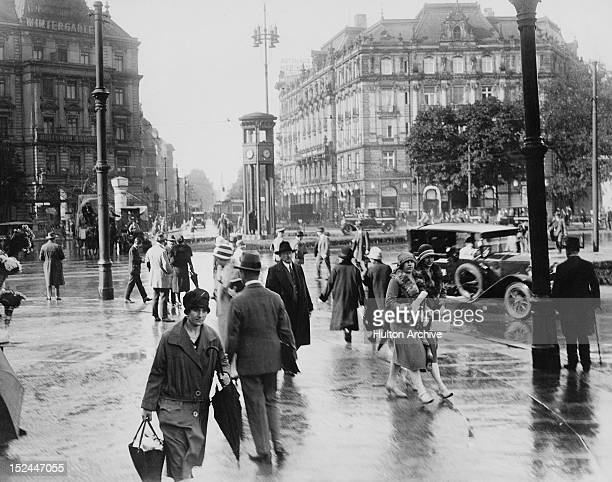 Potsdamer Platz in Berlin Germany with the Palast Hotel on the right and the traffic light tower in the centre circa 1930