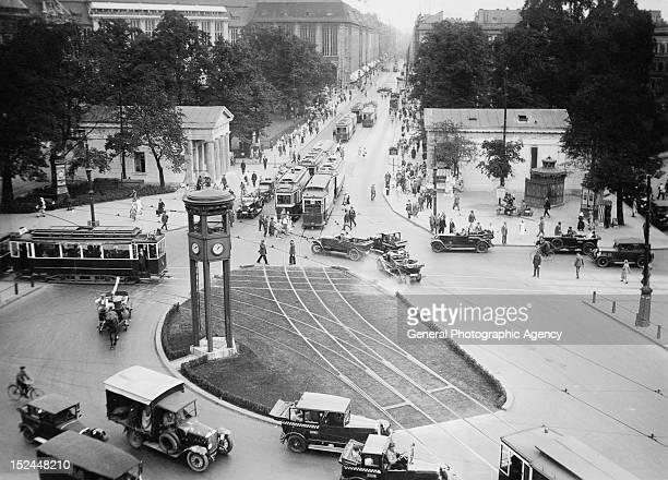 Potsdamer Platz in Berlin Germany with the traffic light tower in the centre circa 1925