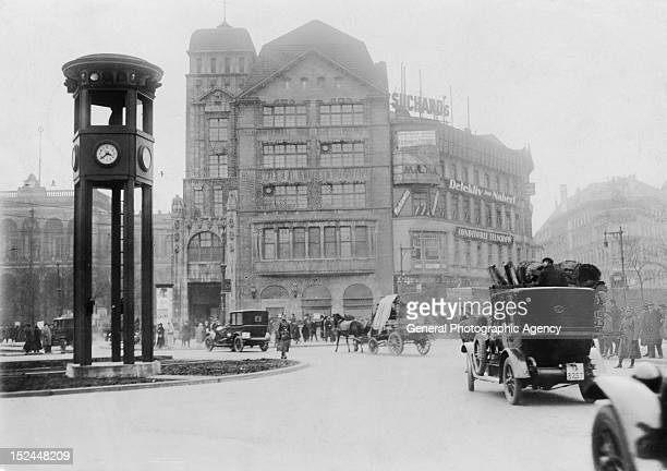 Potsdamer Platz in Berlin Germany with the traffic light tower on the left circa 1925 The tower was erected in 1924