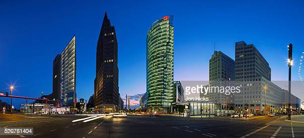 Potsdamer Platz skyline at dusk.