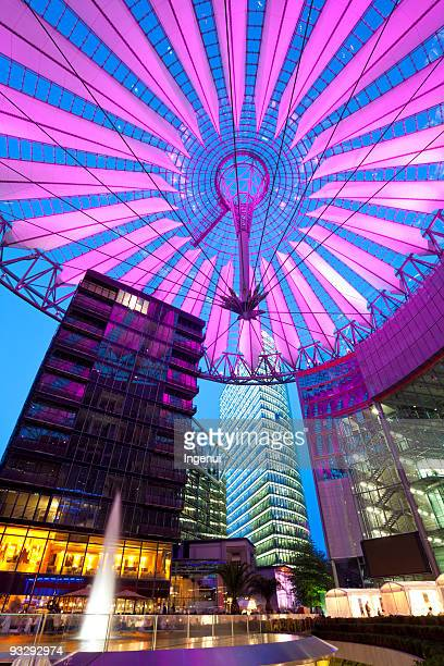 potsdammer at night - sony center berlin stock pictures, royalty-free photos & images