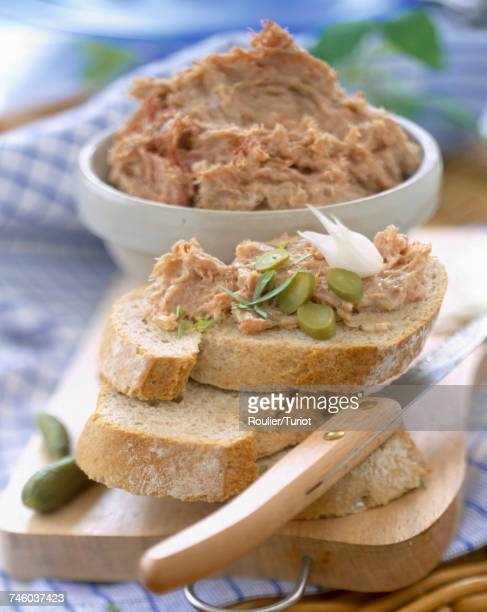 potted duck on bread - pate stock photos and pictures