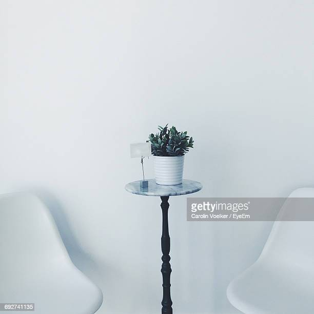 Potted Plant And Electric Lamp On Side Table Amidst Chairs Against Wall