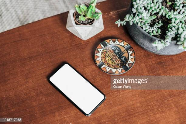 potted plants and smartphone on the coffee table - table top shot stockfoto's en -beelden
