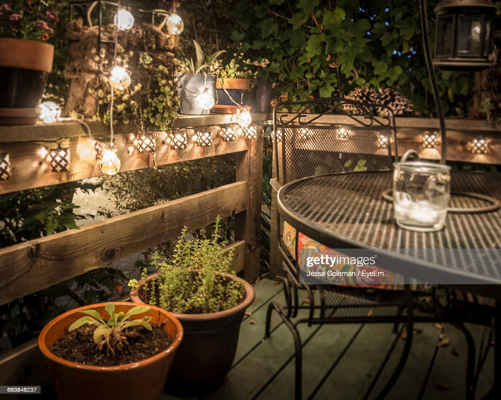 Potted Plants By Table And Chair In Illuminated Back Yard : Stock Photo