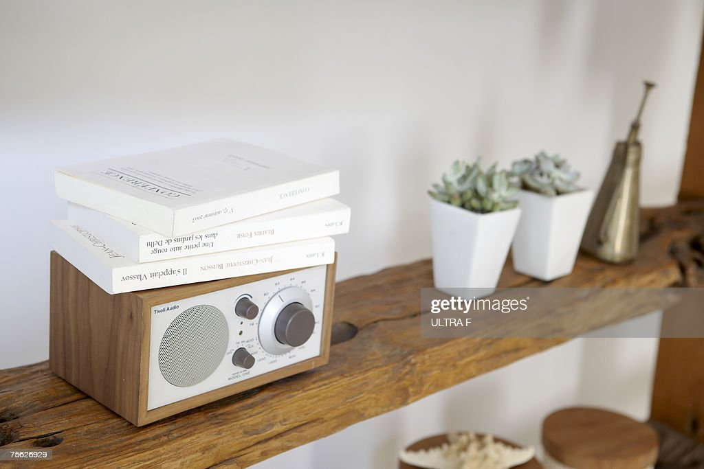 Potted plants, small radio and books on natural wooden shelves against white wall : Stock Photo