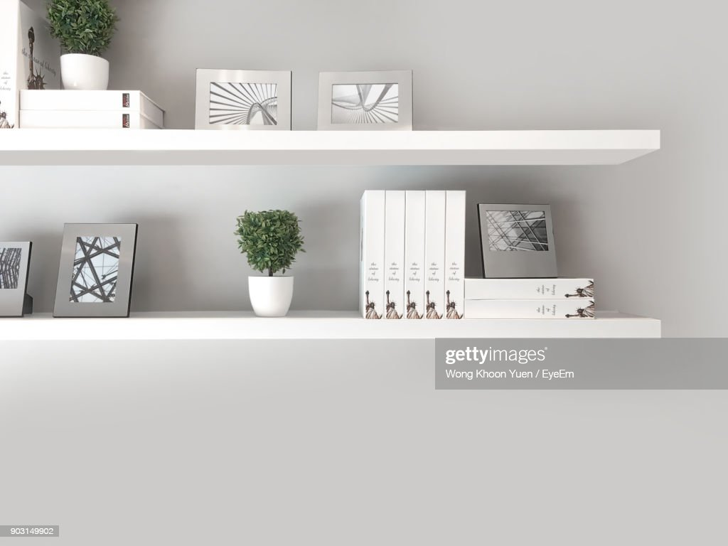 Potted Plants With Decor On Shelf Against White Wall At Home : Stock Photo
