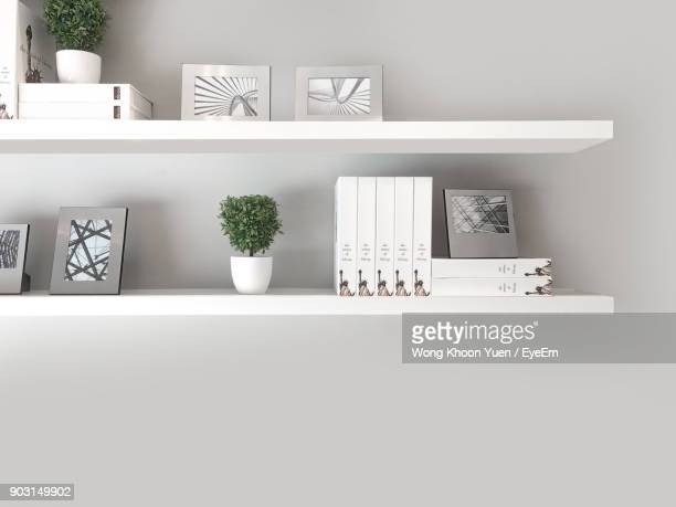 Potted Plants With Decor On Shelf Against White Wall At Home