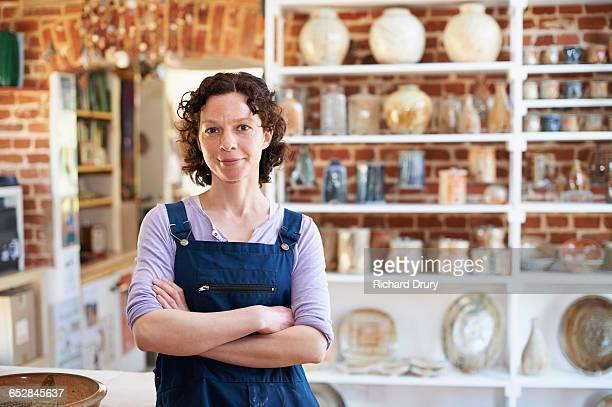 Potter in her workshop