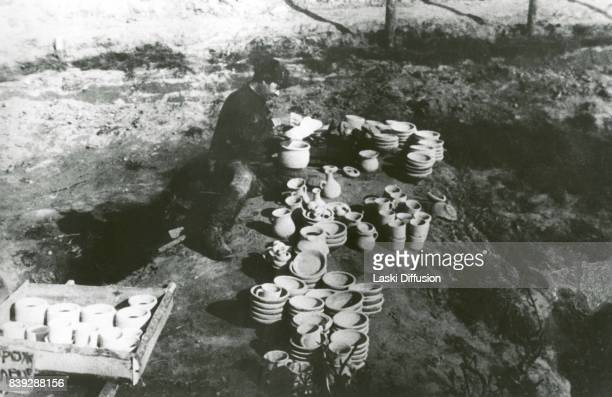 A potter in the Vorkuta Gulag one of the major Soviet labor camps Russia Komi Republic 1945