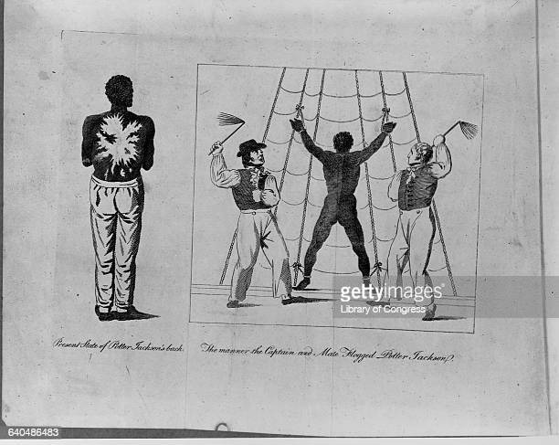 Potter Jackson a freed slave is tied to a ship's rigging and whipped by the captain and first mate ca 1807