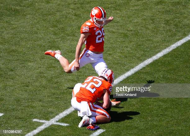 Potter of the Clemson Tigers kicks a field goal during the second half of the Clemson Orange and White Spring Game at Memorial Stadium on April 3,...