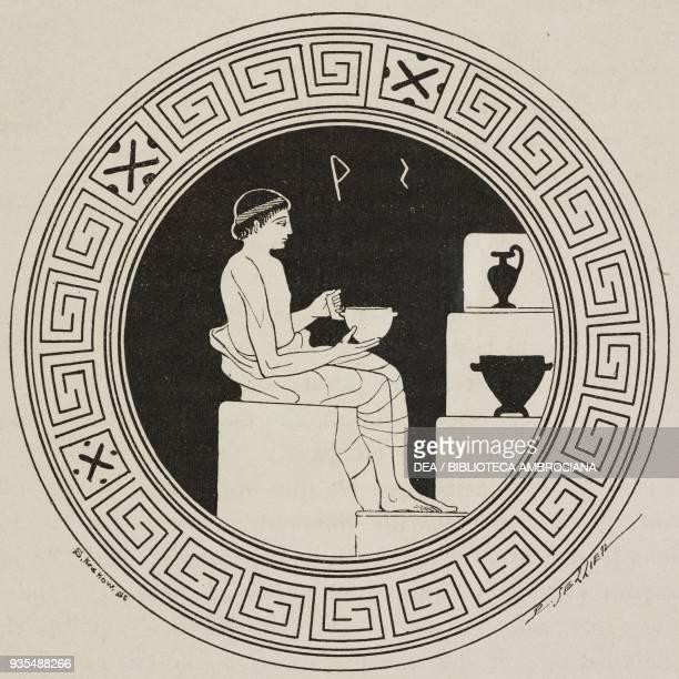 A potter shaping a pot vase painting illustration from Histoire des grecs volume 1 Formation du peuple grec by Victor Duruy