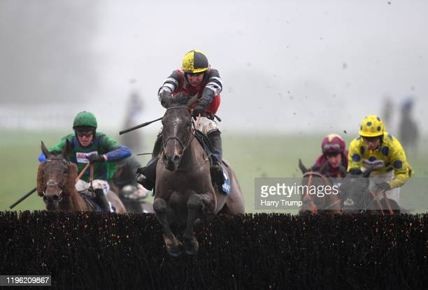 Potters Corner ridden by Jack Tudor jumps the last before going on to win the Coral Welsh Grand National Handicap Chase at Chepstow Racecourse on...