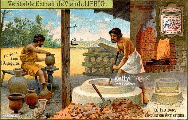 Potters in antiquity c1900 Fire in the artistic industry French advertising for Liebig extract of meat c1900