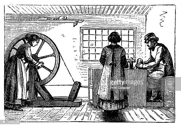 Potter's workshop c1860 A woman turns the wheel while a girl baller supplies the potter with lumps of clay of the correct weight for the next vessel...