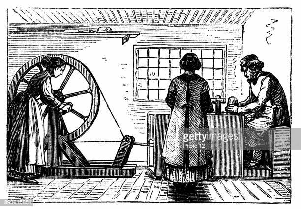 Potter's workshop with woman turning the wheel and girl baller supplying the potter with lumps of clay of the correct weight for the next vessel to...