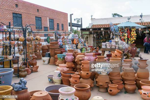 pottery and porcelain souvenir shop at san diego old town - san stock pictures, royalty-free photos & images
