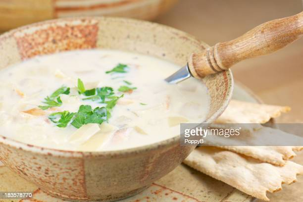 Pottery Bowl of Homemade Fish Chowder