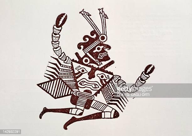 Pottery design depicting a man-crab, artefact from Peru. Pre-Inca Mochica Civilization, 4th-9th Century.