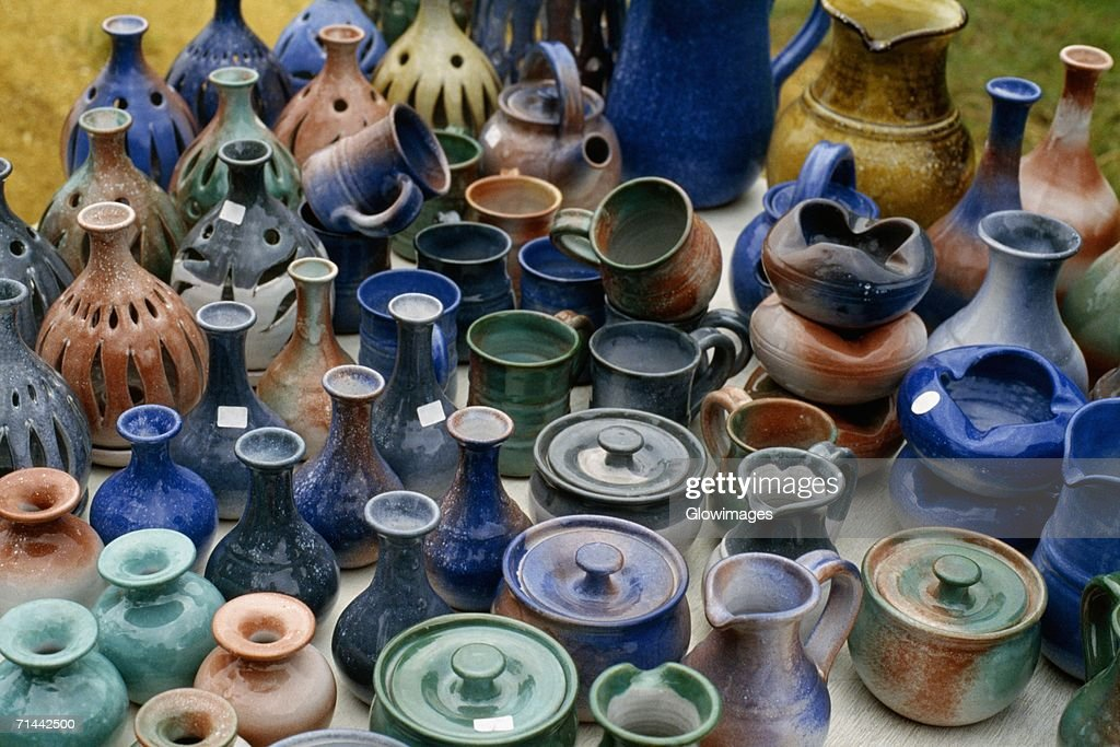 Pottery displayed at a roadside stand, Barbados : Stock Photo