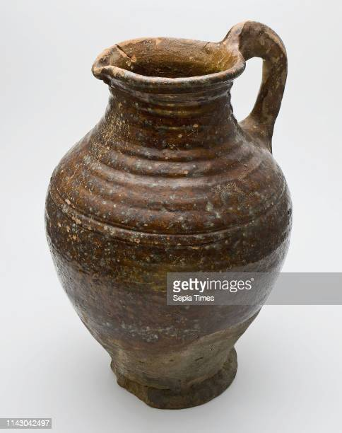 Pottery jug be done with ear and spout neck and shoulder with rings water jug crockery holder soil find ceramic earthenware glaze lead glaze hand...