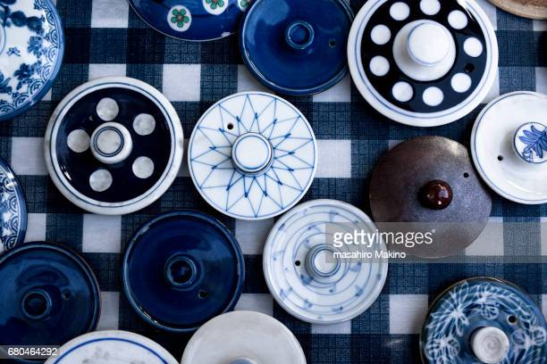pottery lids - japanese culture stock pictures, royalty-free photos & images