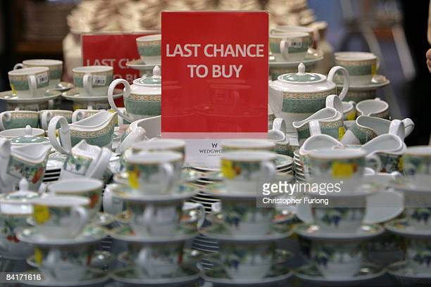 Pottery stands for sale in the Wedgwood factory shop in Fenton on January 5 2009 in StokeOnTrent United Kingdom Pottery and ceramics company Wedgwood...