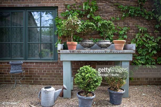 A potting table sits in the courtyard of Pond Ridge on Sunday May 31 in Lake Forest Ill