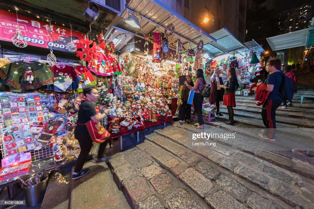 Pottinger Street in Hong Kong city : Stock Photo