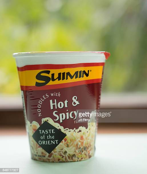 Pottle of Suimin hot and spicy instant noodles