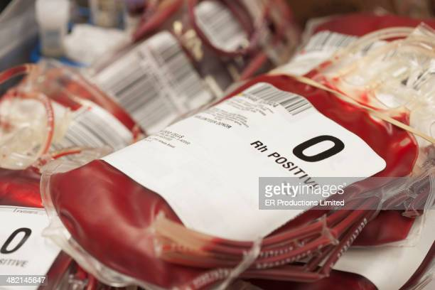pouches of donated blood in hospital - blood donation stock pictures, royalty-free photos & images