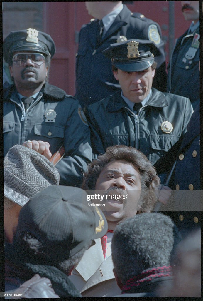 The Rev. Al Sharpton, the Brooklyn minister who has repeatedly criticized the state's handling of the Tawana Brawley assault case, protests during a demonstration in front of the National Guard Armory here, where the grand jury sits. One person was arrested in a scuffle with police.