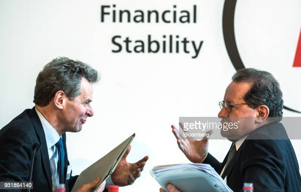Poul Thomsen director of the European department at the International Monetary Fund left speaks with Vitor Constancio vice president of the European...