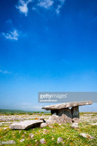 Poulnabrone Dolmen Portal Tomb at The Burren in County Clare, Ireland.