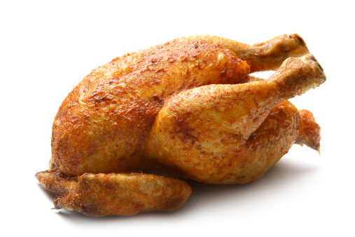 Poultry: Roast Chicken Isolated on White Background 172916013